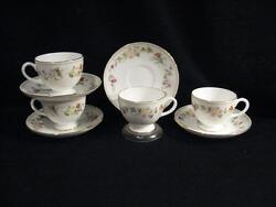 Wedgwood R4537 Mirabelle Footed Cups And Saucers - New, Never Used - Pristine