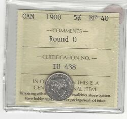 1900 Round 0,iccs Graded Canadian, 5 Cent, Ef-40