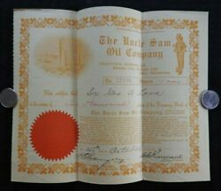 1916 Uncle Sam Oil Company 10000 Shares Stock Certificate Atchison Tulsa Kansas