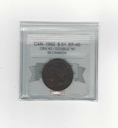 1892 Obv. 3 Dbl N Coin Mart Graded Canadian Large One Cent Ef-40