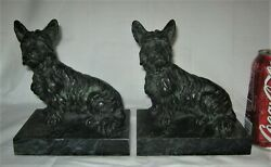 ANTIQUE RONSON USA ROYAL BRONZE TERRIER DOG ART STATUE SCULPTURE METAL BOOKENDS
