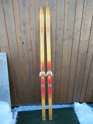Beautiful Vintage Wooden 74 Skis With Blond Wood Finish