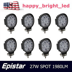 8x 27w Led Work Light Spot Round Driving Fog Lamp Offroad Suv Truck Driving 4in