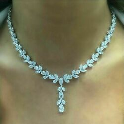 30.00 Ct Pear Cut Diamond Tennis Necklaces 14K White Gold Over For Women#x27;s $237.50