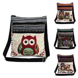 Women Owl Messenger Bag Crossbody Shoulder Bag Satchel Purse Vintage Handbag US