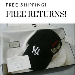 Gucci Yankees Hat Baseball Cap NY Logo Patch Black Butterfly Embroidery New York