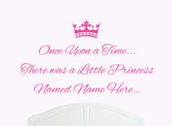 Once Upon a Time Princess Wall Sticker Decal Bed Room Art Girl Baby K Names 1 GBP 10.99