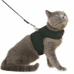 BINGPET Escape Proof Cat Harness and Leash - Adjustable Soft Mesh Holster Style