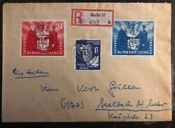 1951 Berlin East Germany Ddr Cover To Seelbach Polish Relations Stamp Mi 284-5