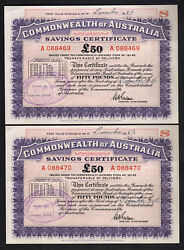 Australia 1946 Post Ww.11 Savings Certificate For 50 Pounds.. Consec Pair