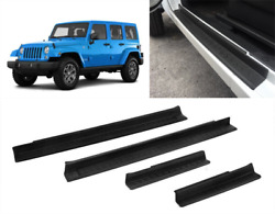Fit For Jeep Wrangler Jk 2007-2017 Door Sill Plate Entry Guards Protector Trim