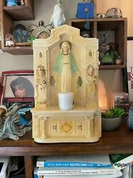 1942 Virgin Mary Grotto Shrine Altar Chalk Ware Chalkware Madonna Our Lady
