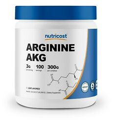 Nutricost Arginine Akg Powder 300 Grams Aakg - 3g Per Serving And 100 Servings