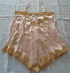 Antique Circa 1920s Ladies Silky Satin Teddy Ribbons Wax Roses Lingerie Pink 36