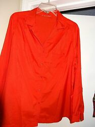Ladies Womens Size Large CORALRED Top Blouse Long Sleeve Button Front Collar
