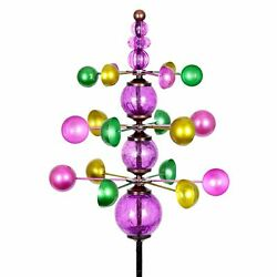 Three Tier Wind Spinner Garden Stake With Glass Crackle Balls In Purple, 14 By 4