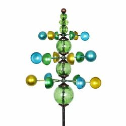 Three Tier Wind Spinner Garden Stake With Glass Crackle Balls In Green, 14 By 48