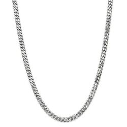 14k White Gold 6.25mm Solid Flat Beveled Curb Chain W/ Lobster Clasp 18 - 24