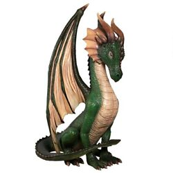 Grand Scale Gothic Winged Green Dragon Sculpture Medieval Statue 84