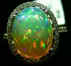 7.80CT 14K Gold Natural Ethiopian Opal Diamond Designer Halo Vintage Retro Ring