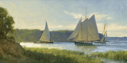 Don Demers Working The River Maine Giclee Canvas Sail Boats
