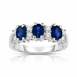 Noray Designs 14k White Gold Oval Blue Sapphire and 14ct TDW Diamond Ring (G-H