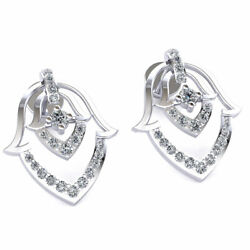 Natural 0.4ct Round Cut Diamond Ladies Casual Wear Earrings Solid 18k Gold