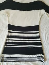 3 Bailey 44 Striped Half 1/2 Sleeve Top Colorblock Black White S Small Nwot