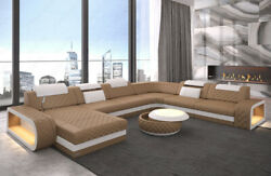 Luxury Sectional Sofa Charlotte XL LED Lights Genuine Leather Design