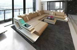 Leather Sectional Sofa Hollywood XL Corner LED Lights Designer Couch