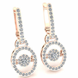 Natural 0.8ct Round Cut Diamond Ladies Halo Drop Earrings Solid 14k Gold