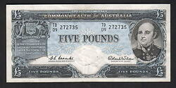 R-50l. 1960 5 Pounds . Coombs/wilson - Reserve Bank. Last Prefix Td/09.. Aef