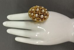 Vtg 70and039s Avon Ring Of Pearls Faux Pearl Perfume Glace Adjustable Chunky Ring
