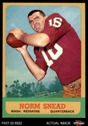 1963 Topps 158 Norm Snead Redskins Wake Forest 6 - Ex/mt
