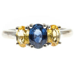 Peter Suchy Blue Oval Yellow Sapphire White Gold 3 Stone Engagement Ring