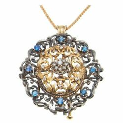Vintage 18k Gold Andsilver Victorian Revival Old Cut Diamond Sapphire Pin Pendant