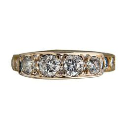 Vintage 1.20ct Total 14k Yellow Gold Full Cut Diamond Band Ring Prong Free Size