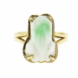 1980 Green And White Natural Jade Carved Frog Ring 14k Gold Gia Certified