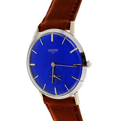 1960 Longines White Gold Strap Watch Custom Colored Vivid Blue Dial