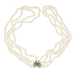 Vintage 1950 4 Strand Cultured Pearl Necklace Graduated 14k White Gold
