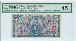 Series 521 5 Military Payment Certificate First Mpc Note Currency Pmg 45 Ch Xf
