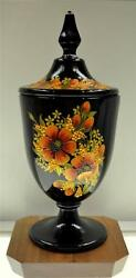 Fenton Black Candy Dish W Lid Vibrant Poppies Ooak One Of A Kind Free Usa Ship