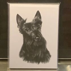 SCOTTISH TERRIER DOG BREED NOTE CARD SET OF 8 BY BILL HARRAH AT WOLF RUN STUDIO