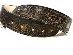 Leather Belt American Eagle Design Handmade Cocoa Color Choose Your Size $24.95