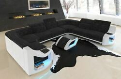 Fabric Sectional Sofa Columbia U Shape Designer Couch with LED Light