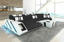 Sofa Sectional Fabric New Jersey C Shape Corner Couch LED Lights