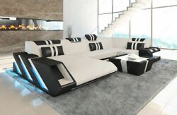 Sofa Fabric Sectional New Jersey U Shape Corner Couch Living Room LED