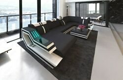 Sofa Big Sectional Fabric Couch Hollywood U Shape Corner Design Sofa LED Light