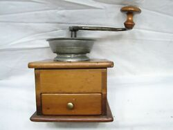 Early Signed Pewter Top Coffee Lap Grinder Burr Mill Kitchen Tool Dovetailed Box
