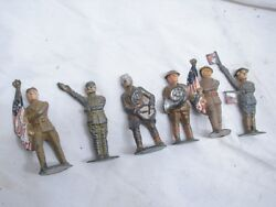 Lot Early Barclay Manoil Wwii Toy Lead Soldiers Flag Bearer Signal Man Band D